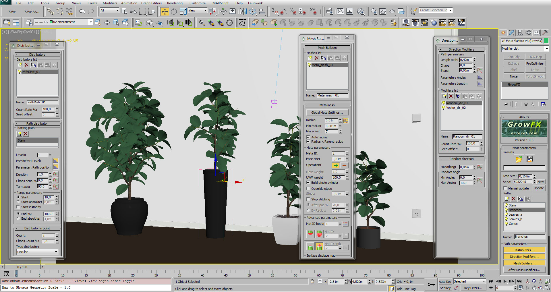 Interior Plants - 3Ds Max with GrowFX